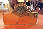 Antique 1920-1930 Car Rear View Mirror With Clock Gold Tone