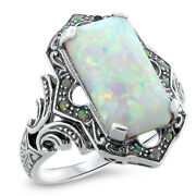 White Lab Opal Antique Victorian Design 925 Sterling Silver Ring Size 8   618