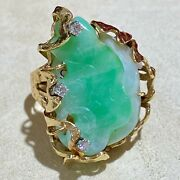 Chinese Carved Moss In Snow Green Jade 14k Yellow Gold Diamond Ring Size 6