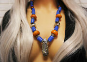 Tibal Necklace Silver Mineral Rock African Trade Beads Handmade Amber Moroccan