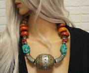 Tribal Necklace Turquoise Amber Coral Berber Enamel Tagmout Eggs Moroccan Beads