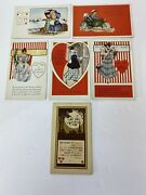 Antique St. Valentine's Day Holiday Postcards Lot Of 6 Embossed Cupid Love