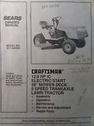 Sears Craftsman 12.0 Ic Hp 38 5-sp Lawn Tractor Owner And Parts Manual 917.254650