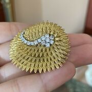 French Vintage 18k Yellow Gold Scalloped Swirl Pin/brooch With Diamonds-hm2136sz
