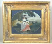 Antique Colonial American Reverse Painted Glass Eglomise Painting Of A Woman