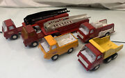 Lot Of 5 - Vintage Tonka Pressed Steel Firetruck And More
