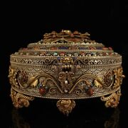 9and039and039 Tibet Silver Filigree Gold Inlay Turquoise Red Coral Gem Pot Jar Case Boxes