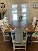 Jacobean Expandable Wood Dining Table And 6 Chairs Custom Tble Pads Made In Italy