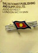 Salvation Army Enamel Flag Pin Silver Tone With Bluered And Yellow Enamel.
