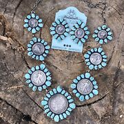 Navajo Paul Livingston Sterling Silver And Carico Lake Turquoise Coin Necklace Set