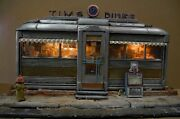 Miniature Diner Lite Model Sculpture With Newspaper And Hydrant