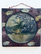 Chinese Antique Painting Lacquered Frame Signed 19th Century