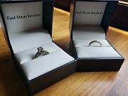 Fred Meyer Size 7 14k Wg 5/8ct Engagement Ring And 14k Wg 1/4ct Wedding Ring