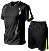 Pasok Menand039s Casual Tracksuit T-shirts And Shorts Running Jogging Athletic Sports