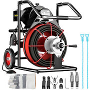 Vevor Commercial Drain Cleaner 100and039x3/8 Electric Sewer Snake Cleaning Machine