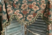 Antique 19th French Curtains And Valance Set Printed Cotton Upholstery Home Decor