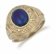 9ct Yellow Gold Blue Cabochon College Ring