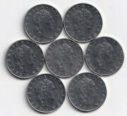 7 Different 50 Lire Coins From Italy With Consecutive Dates Of 1975 To 1981