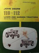 John Deere 110 112 Lawn Garden Tractor Owner And Parts 2 Manual S S/n 100,000-up