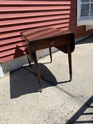 Antique Early 19th C Sheridan Pembroke Table Drop Leaf With Drawer