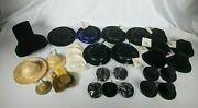 Lot Of 30 Vintage Doll Hats Velvet Cowboy Straw Jute Hand Crocheted Top Hats