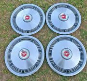 Rough Driverand039s Set Of 4 Vintage 1974 Oem Ford Mustang 13 Red Center Cap Hubcaps