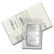 1 Oz Platinum Bar - Credit Suisse .9995 Fine With Assay Certificate - In Stock