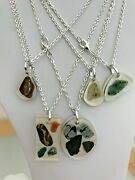 Resin And Natural Stone Nugget Pendants On Silver Or Gold Plated Chains