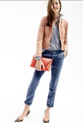 Nwt J.crew Collection Standing-collar Leather Jacket Size 4 Small Madewell