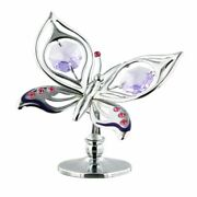 Crystocraft Butterfly Ornament Freestanding Chrome Plated 6cm