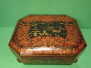 Antique 19th Century Chinese Asian Lacquer Game Box Red And Gold
