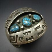 Vintage Navajo Sterling Silver Overlay And Candelaria Turquoise Cuff Bracelet