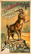 Large Antique Brewery Lithograph Poster Reprint Ballantine Beer Newark