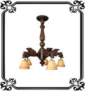 French Gothic Hand Carved Wood Large Chandelier - Victorian Ceiling Light