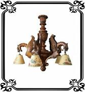 French Gothic Hand Carved Wood Large Chandelier - Griffin Dragon 5 Lights