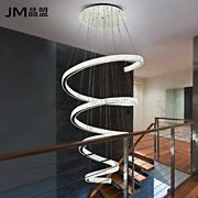 Luxury Led Spiral Crystal Ceiling Light Stair Chandelier Lighting Fixtures Lamp