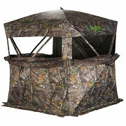 Rhino Blinds R150-moc Durable 3 Person Outside Hunting Ground Blind Mossy Oak