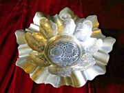 Vintage India Brass Cigar Ashtray 8 8 Slot 2.5tall Large Etched Flowers Mcm