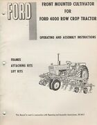 Ford Mounted Cultivator For Row Crop Tractor Operating Manual Se 3012 350