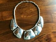 N.a. Sterling Silver Necklace W/ Tortoise Shell Design Signed Piece