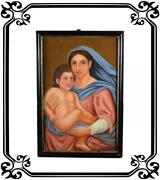 Antique French Oil Painting Italian Madonna And Child