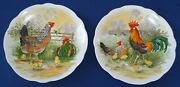 Pair Of Vintage Porcelain Plates With Rooster Hen And Chicken Signed H.arndt