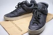 Pre-owned Authentic Louis Vuitton Menand039s Sneakers Leather Gray X White 7 1/2