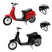 Razor Pocket Mod Miniature Euro 24v Kids Electric Scooter And Helmet, Black And Red