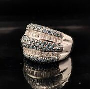 18k White Gold 4.78ctw Blue Diamonds And Baguette White Sapphire Statement Ring