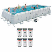Bestway 24ft X 12ft X 52in Above Ground Pool + Type Iv/b Cartridges 6 Pack
