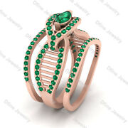 1.10cttw Green Emerald Engagement Ring Eternity Band Set Matching Promise Rings