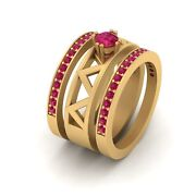Solitaire Pink Ruby Engagement Ring Matching Wedding Band Set Anniversary Gift
