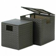 Two Wicker-look Nesting Storage Trunks Decorative Boxes Collectibles Home Decor
