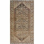 5and039x9and0394 Colors Worn Down Vintage Farsian Qashqairaz Wool Hand Knotted Rug R57286